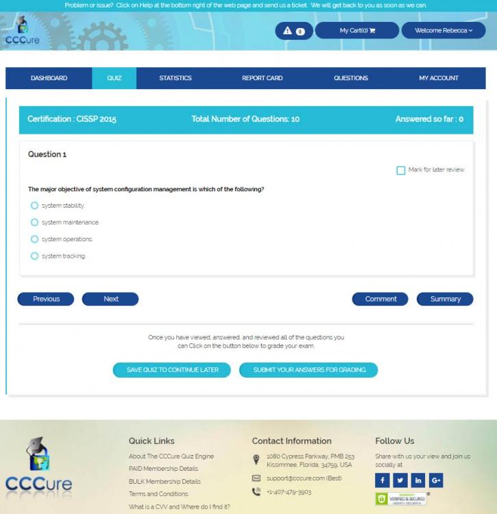 Main Quiz Page
